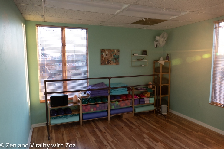 This space brings nature to you while you practice yoga, mat pilates, barre, and fascial movement. Big windows bring in sunlight. Wood floors clean easily. Bamboo shelving holds the props you might need. Green walls reminds you of a forest. Even the solid barre resembles tree trunks.