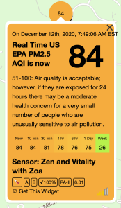 Real time outdoor air quality monitoring in La Plata, MD with a Purple Air Outdoor Sensor.
